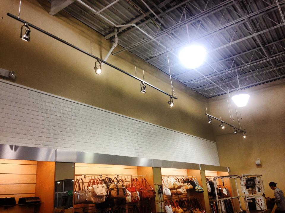 track lighting and high bay lighting - commercial lighting installation