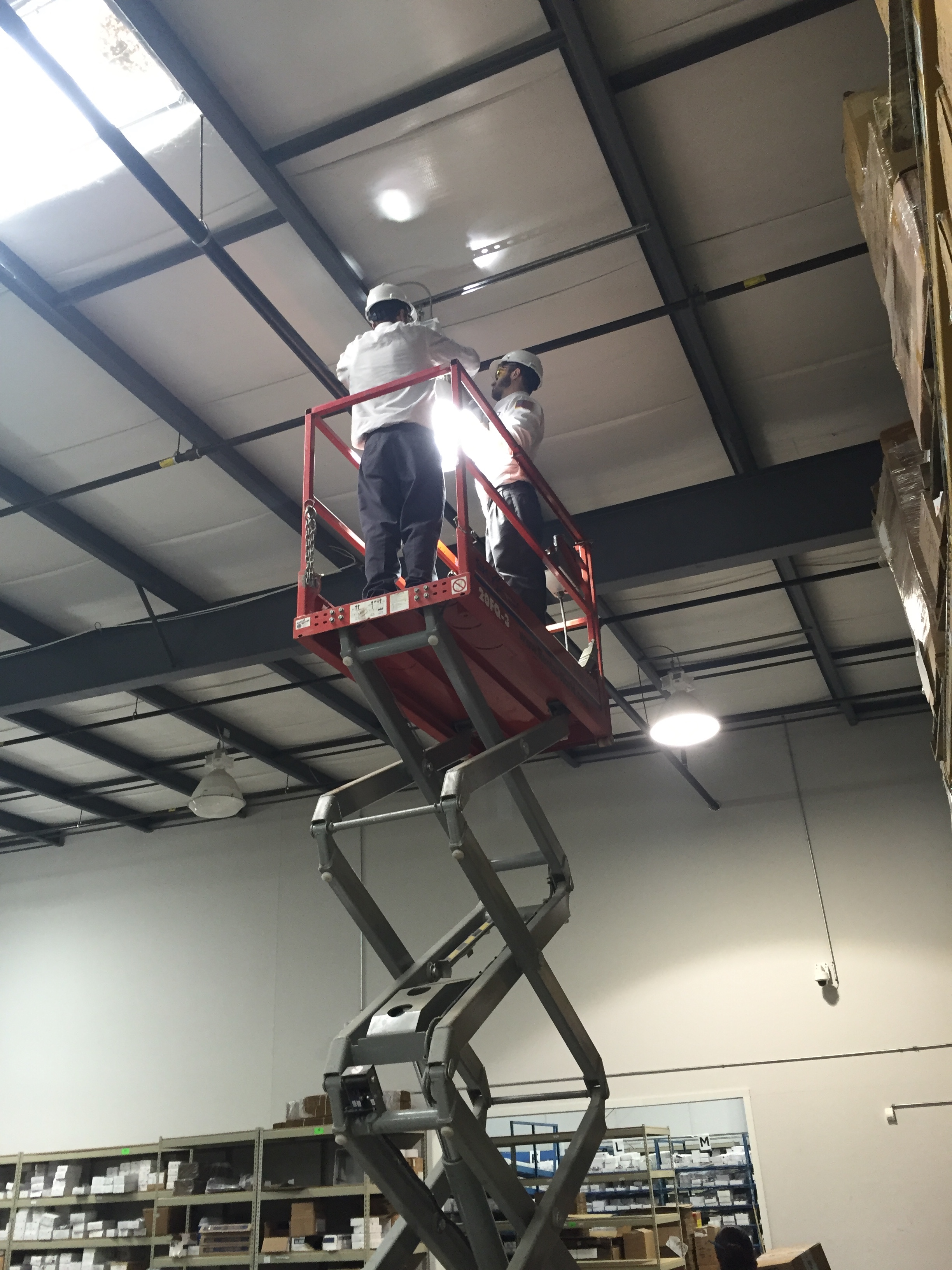 commercial electrician - high bay lighting installation