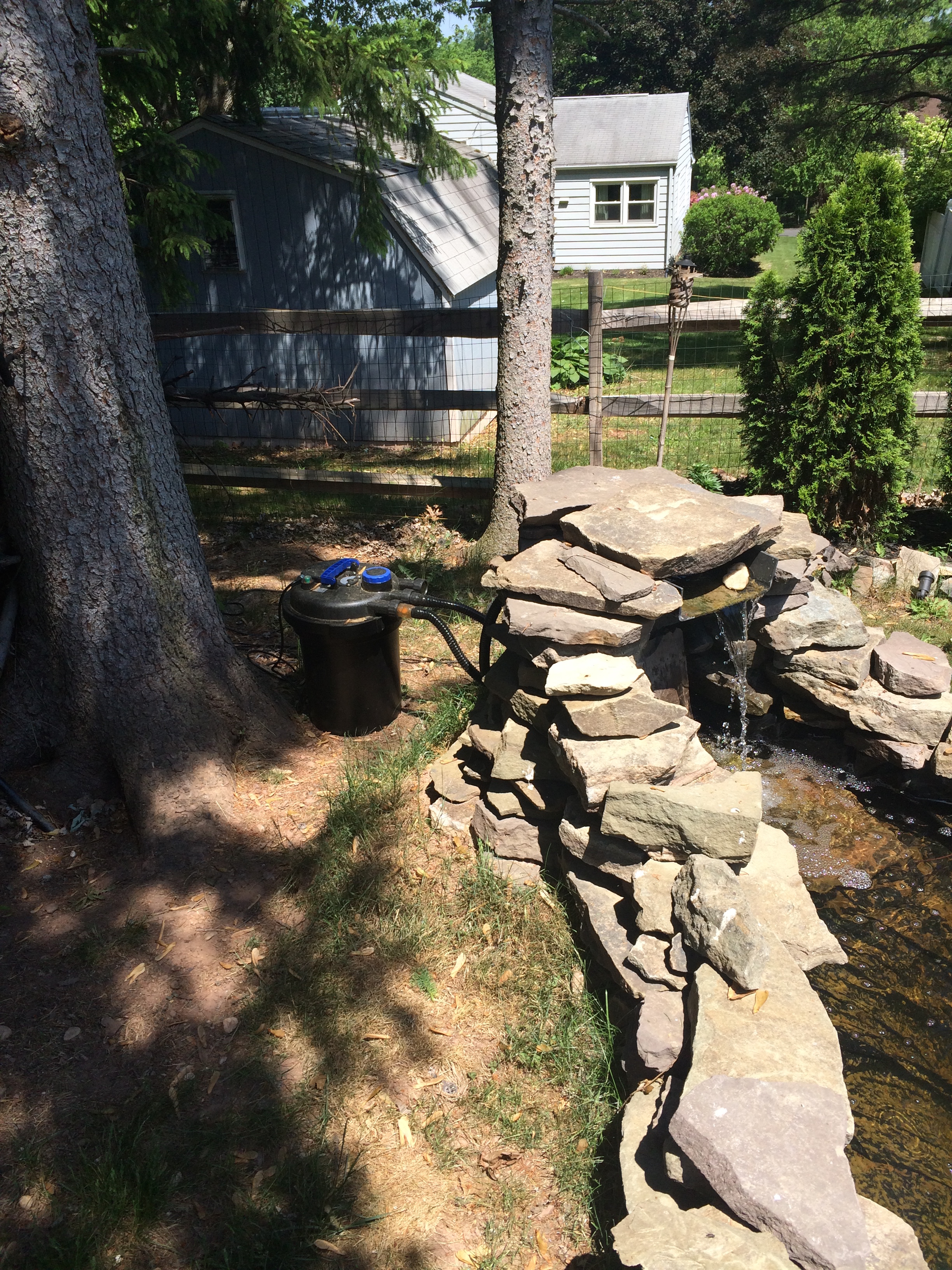 filtration pond pump installation