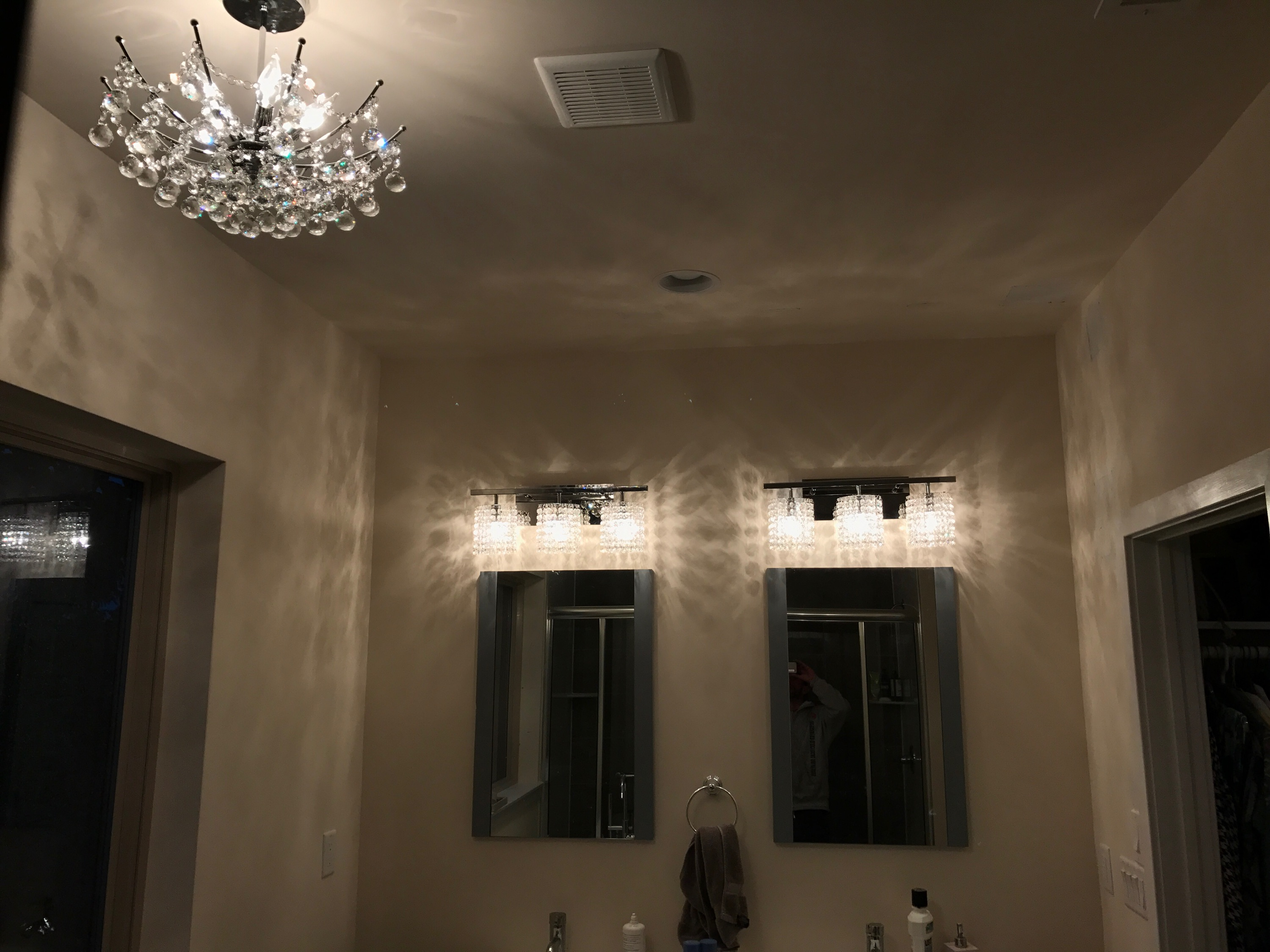 chandelier installation - bathroom