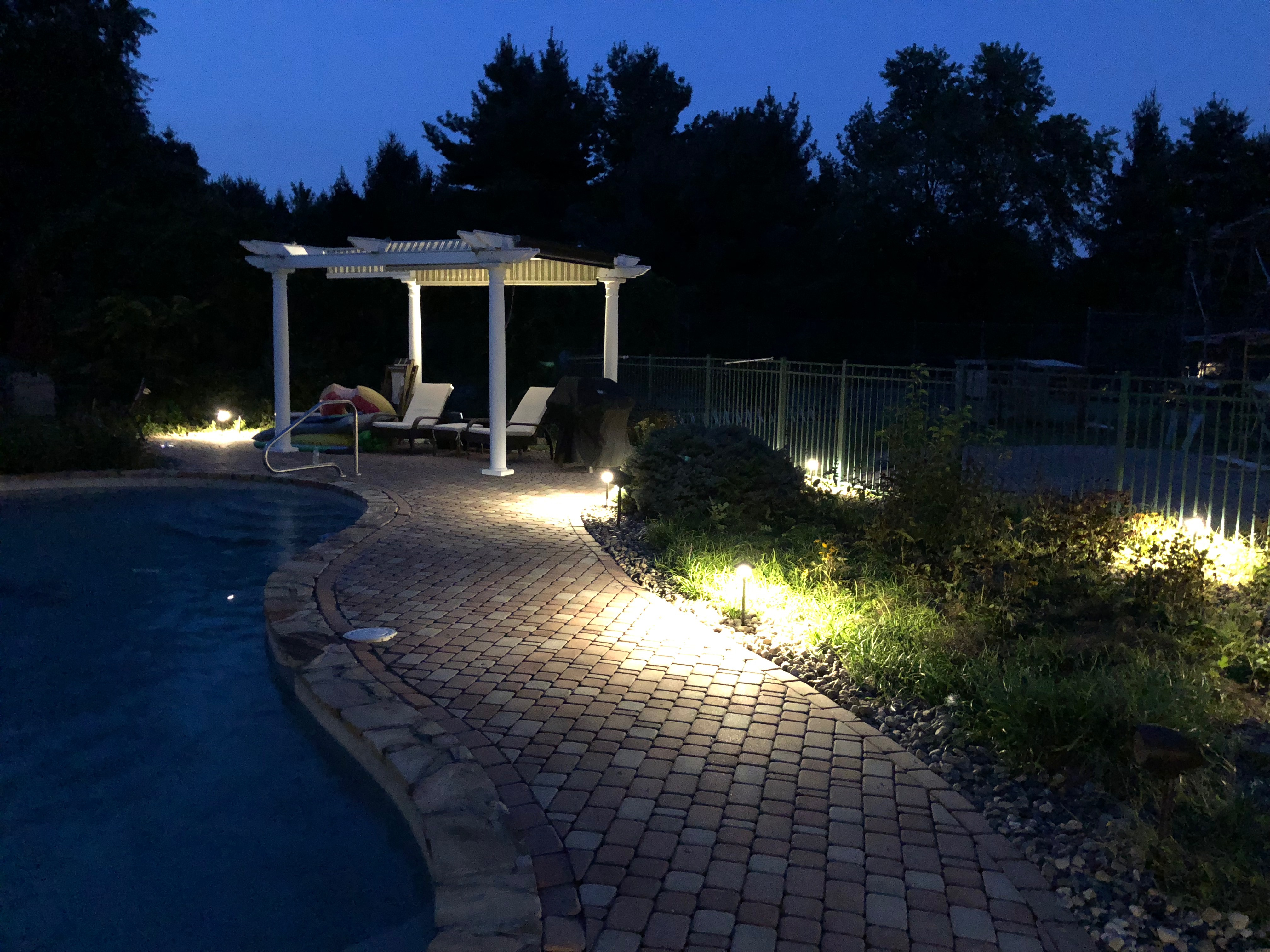 Pool Area Lighting Ideas Uplighting Canopy Pergola